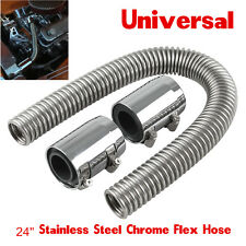 "Universal Car 24""Chrome Radiator Coolant Water Hose Kit With Caps/Radiator Cover"
