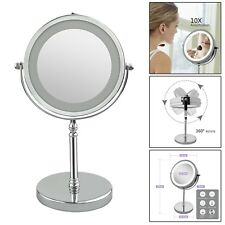 """7"""" 10x Magnification Dual Sided 360° Rotating Makeup Stand Mirror With LED Light"""