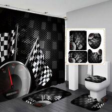 Car Racing Dashboard Black Shower Curtain Bath Mat Toilet Cover Rug Bathroom Art