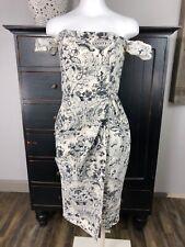 ASOS Womens 6 Cream/gray Floral Faux Wrap Midi Sleeveless Sheath Dress O