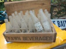 Fawn Beverages Crate 24 Lot 6oz Soda Pop Bottles VTG Elmira,NY Rare Advertising