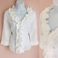 PER UNA White Linen Frilled Ruffle Fitted Boho Summer Shirt Blouse Top 14