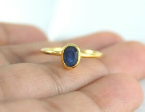 Natural Blue Sapphire 14K Solid Yellow Gold Handmade Jewelry Sapphire Gold Ring