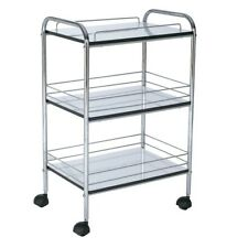 Trolley On Casters 3 Tier Shelf  With Metal Protection Bars Food Medical Beauty