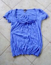 ONE STEP UP WOMAN'S BLUE TOP BLOUSE W/ SCOOP NECK; WRINKLED LOOK; SIZE S