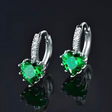 Women Silver Gold Filled Heart Green Emerald Crystal Stud Engagement Earrings