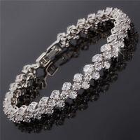 Tennis Dainty Round Cut Rhinestone Prom 18K White Topaz Bracelet Chain