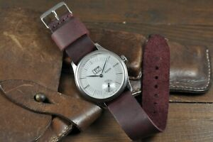 Leather Watch Strap Handmade Mens and Women Watch Band Burgundy 14 - 26mm