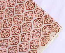 2.5 Yard Indian Floral Hand-Block Print Fabric 100% Cotton Jaipuri Decor Art