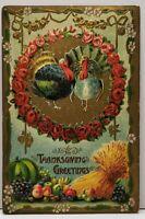 Thanksgiving Gold Finish Embossed Turkeys Wheat Fruit c1910 Iowa Postcard F12