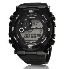 OHSEN Mens G Military Style Day Alarm Shock White Digit Light Quartz Wrist Watch