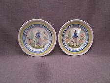 paire d'assiettes anciennes en faïence bretonne