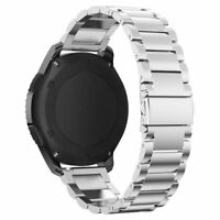 NEW For Samsung Gear S3 Frontier three flat buckle Stainless Steel Watch Band LN