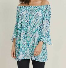 Evans ladies blouse top tunic plus size 14 - 28 turquoise on off shoulder