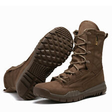 Men Army Tactical Combat Military Lace Up Ankle Boots Hiking Desert Shoes Canvas