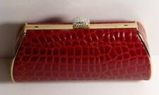 Lipstick Red Embossed Faux Leather Clutch / Shoulder Bag w/Clear Crystal Clip