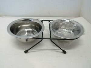 Stainless Steel Pet Feeding Station Bowls with Stand