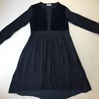 Mela Purdie Navy Blue Velvet Peasant Dress, Pockets, A-line Bottom, Size 10/ S