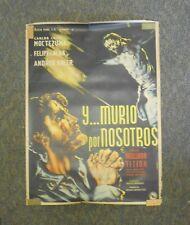"""Y Murio Por Nosotros Original Mexico 1951 Movie Poster 27""""x 37"""" Vargas Art"""