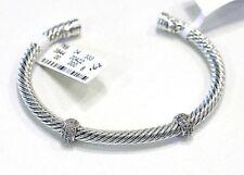 "DAVID YURMAN NEW 5MM Silver 18K Gold Diamond Bracelet Cuff  6.75"""