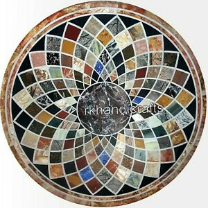 Multi Color Stones Art Dining Table Top Marble Hallway Table for Home 48 Inches