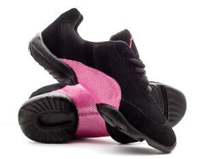Black & Pink Sparkly Split Sole Jazz Dance Practice Shoes Sneakers Trainers Katz