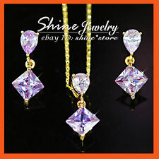 9K GOLD GF S30 SIMULATED AMETHYST PRINCESS CUT LADY SOLID NECKLACE EARRING SETS