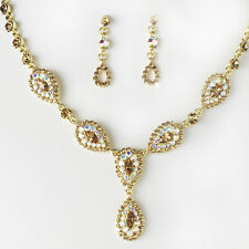 Stunning Gold Brown AB Pave Crystal Wedding Jewelry Necklace and Earrings Set