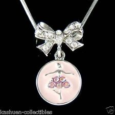 w Swarovski Austrian Crystal ~~Pink BALLERINA Bow~ Ballet Dance Pendant Necklace