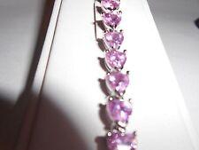 Bracelet Pink Cubic Zirconia Heart Shaped Cut Stones in Rhodium Cups, 7.5 inch.
