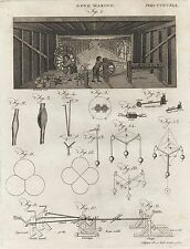 1797 Rope Making Men Operating Table Wheel Equipment Antique Engraving Print