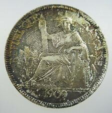 FRENCH INDO CHINA 1 PIASTRE 1909 A SILVER COLOR TONED FIC INDOCHINA CROWN COIN
