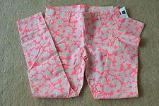 NWT GAP White Pink Pattern Print Khaki Skinny Slim Ankle Cropped Jeans Pants 4