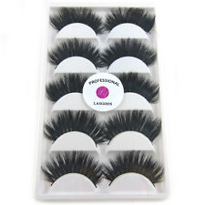 New LASGOOS Real Mink 3D Party Reusable 5Pairs/lot Long Thick False Eyelashes