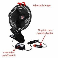 Zento Deals 12V Dashboard Oscillating Vehicle Car Van Truck Home Clip-On Fan