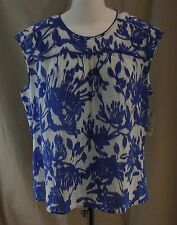 St. John's Bay, 1X, Bold Blue IKAT Floral Top, New with Tags