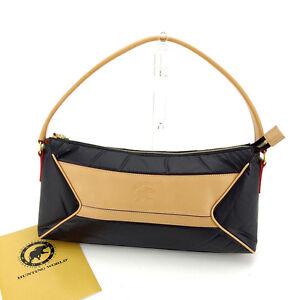 HUNTING WORLD Shoulder bag Black Beige Woman Authentic Used K309