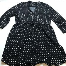 Mossimo Black White Spot Polka Dot Print Tie Waist Dress XXL A1378