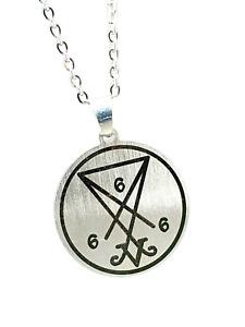 "Lucifer Pendant Satan Devil 666 Church Of Satan Occult 20"" Chain Steel Necklace"