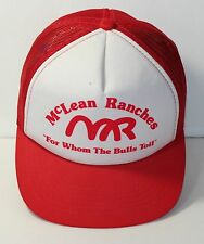 "Truckers Hat McLean Ranches ""For Whom the Bulls Toll"" snapback Foam Back Red"
