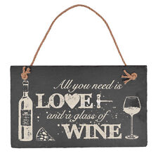 All You Need is Love & Vino da appendere Slate Placca Insegna Regalo Dillo con SCISTO