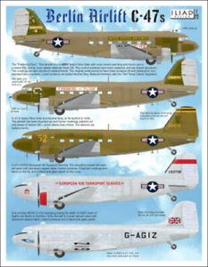 Berlin Airlift C-47 (DC-3 Dakota): USAF, BOAC (1/72 decals, Iliad 72016)