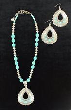 Blazin Roxx Western Jewelry Womens Necklace Earring Set Teardrop Turquoise 29086
