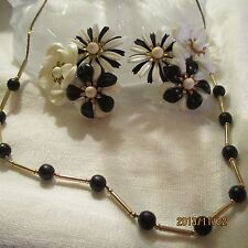 Vintage Beau Jewels Celluloid Black White Gold Flower Earrings Necklace Jewelry