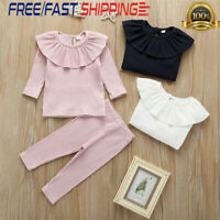 2PCS Toddler Baby Girl Ruffle Tops+Knit Pants Outfits Tracksuit Autumn Clothes