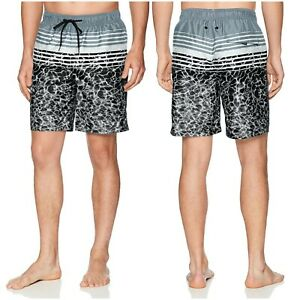 NWT $52 CALVIN KLEIN Men's Water Stripe Printed Swim Trunks Black/Grey Size S