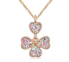 Gold Four Leaf Clover Pendant Necklace Encrusted Colour Crystal Stones Women's