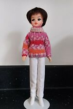 Quirky variegated hand-knitted polo-neck jumper for Sindy (doll not included)