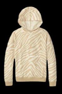 Victorias Secret PINK Oversized Pullover Hooded Sweatshirt White shell zebra