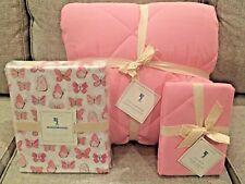 New Pottery Barn Kids Pink Twin Cozy Comforter/Quilt, Sham, Butterfly Sheet Set